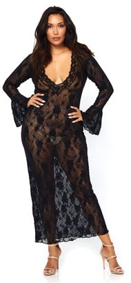 Leg Avenue Women's Stretch Lace Deep-V Bell Sleeve Long Dress, Black, Plus Size