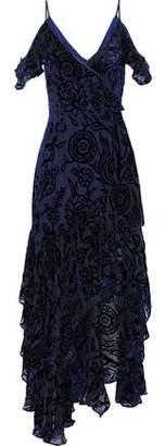 Peter Pilotto Cold-Shoulder Ruffled Devoré-Chiffon Gown