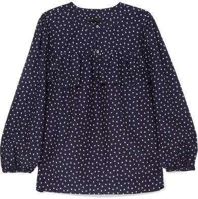 J.Crew - Dorito Printed Cotton And Silk-blend Voile Blouse - Navy