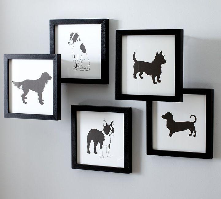 Framed Dog Prints, Set of 5