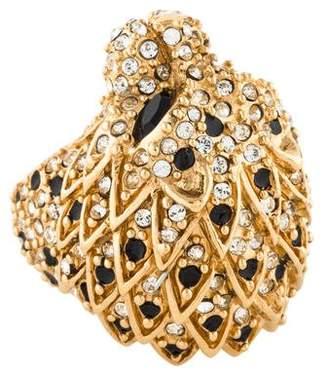 Saint Laurent Crystal & Enamel Lion Head Ring
