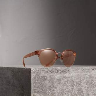 Burberry Check Detail Round Half-frame Sunglasses, Beige