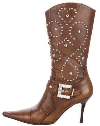 Luciano Padovan Studded Mid-Calf Boots