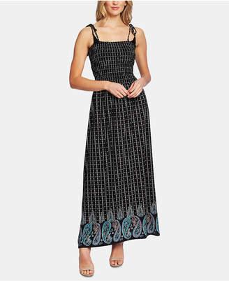 CeCe Paisley-Print Smocked Dress