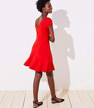 LOFT Ponte Flounce Flare Dress