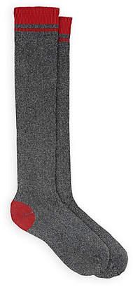 Maria La Rosa Women's Cheerleader Metallic Thigh-High Socks - Black
