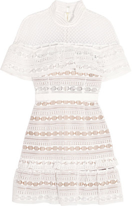 Self-Portrait - Ruffled Guipure Lace Mini Dress - White $475 thestylecure.com