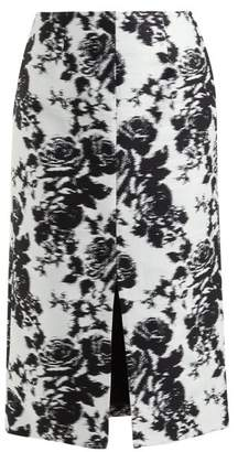 Erdem Rhetta Rosechine Jacquard Pencil Skirt - Womens - Black White