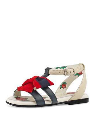 Gucci Jane Two-Tone Leather Web-Bow Sandal, Toddler
