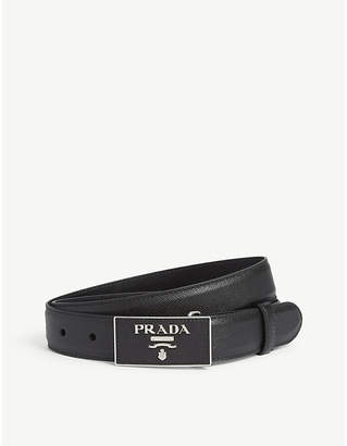 Prada Triangle logo leather belt