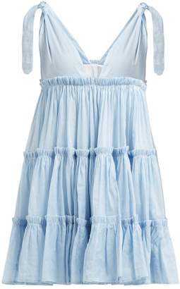 Innika Choo Tiered Ruffle Trimmed Ramie Mini Dress - Womens - Blue