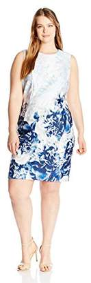 Calvin Klein Women's Plus Size Printed Scuba Sheath Dress
