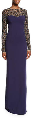 Michael Kors Sequined Lace Long-Sleeve Gown, Maritime $6,995 thestylecure.com