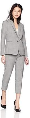 Tahari by Arthur S. Levine Women's Petite 1 Button Notch Collar Besom Pocket Plaid Pant Suit