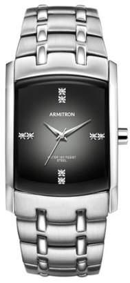 Swarovski Armitron Men's Crystal-Accented Silver-Tone Gray-Degrade Dial Dress Watch