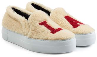Joshua Sanders Shearling Platform Slip On Sneakers