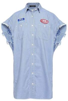 R 13 Applilqued Cotton-chambray Shirt