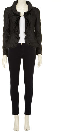 Dorothy Perkins Black ruffle PU jacket