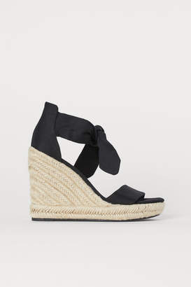 H&M Wedge-heeled Sandals - Black