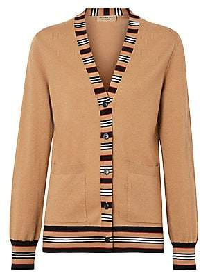 Burberry Women's Cauca Merino Wool Stripe Cardigan