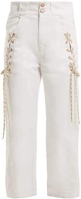 See by Chloe Lace-up cropped denim jeans