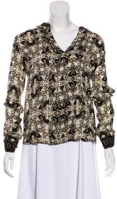 L'Agence Butterfly Print Silk Top