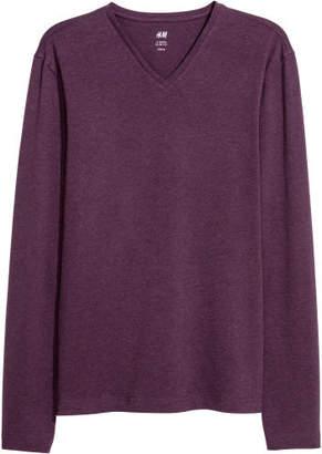 H&M Long-sleeved T-shirt Slim fit - Purple