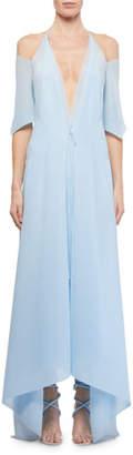 Roland Mouret Ballard Cold-Shoulder Chiffon Handkerchief Dress