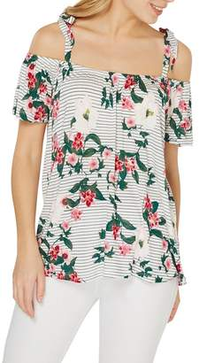 Dorothy Perkins Ivory Floral Cold Shoulder Top