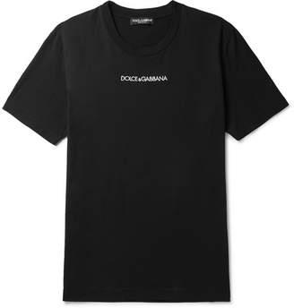 Dolce & Gabbana Slim-Fit Logo-Embroidered Cotton-Jersey T-Shirt - Men - Black