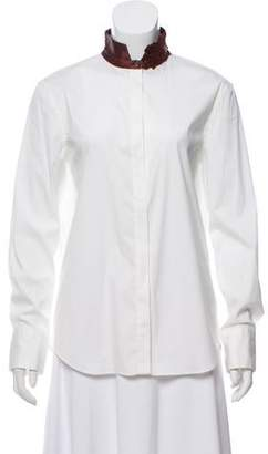Brunello Cucinelli Embroidered-Accent Button-Up Shirt