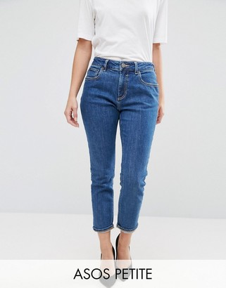 ASOS Petite ASOS PETITE Slim Mom Jeans in Harley Flat Blue Wash $49 thestylecure.com