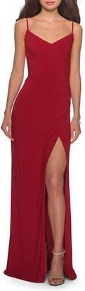 La Femme V-Neck Sleeveless Jersey Dress with Slip & Ruching