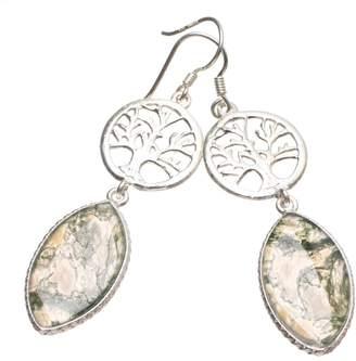 """StarGems(tm) Natural Moss Agate Handmade Boho 925 Sterling Silver Earrings 2 1/4"""" T3659"""