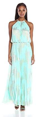 MSK Women's Gold Chain Halter Neck Maxi Woven Pleated Dress $89.60 thestylecure.com