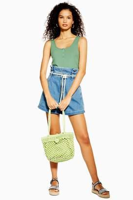 Topshop Rope Belt Paper Bag Denim Shorts