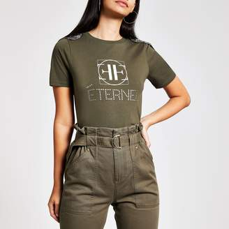 River Island Womens Khaki shoulder embellished T-shirt