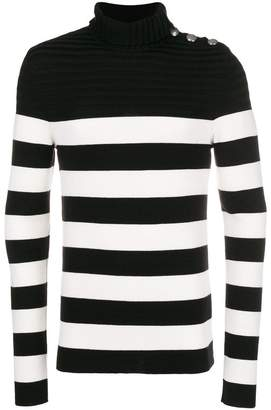 Balmain button shoulder turtleneck sweater