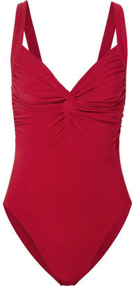 Norma Kamali Twist Mio Ruched Swimsuit - Red