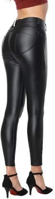 RIER Women's Faux Leather Pants PU Sexy Elastic Pants Butt Lift Leggings