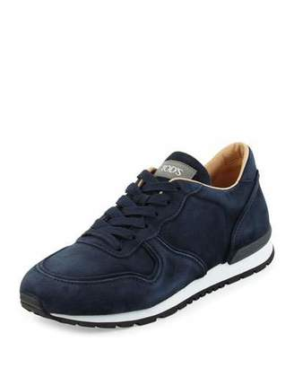 Tod's Suede Lace-Up Trainer Sneaker, Navy $625 thestylecure.com