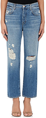 J Brand Women's Ivy High-Rise Crop Straight Distressed Jeans $228 thestylecure.com