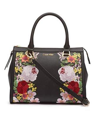 Calvin Klein Mercy Saffiano Leather Key Item Satchel