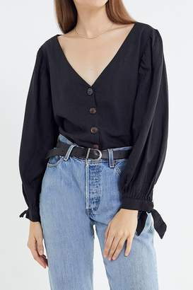 Urban Outfitters Dee Linen Balloon Sleeve Button-Down Top