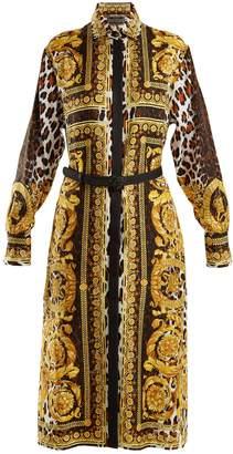 Versace Baroque and animal-print silk-twill shirtdress