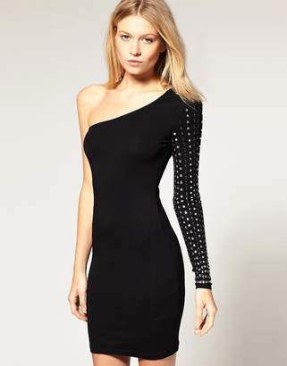 Asos Design One Sleeve Dress with Jeweled Sleeve