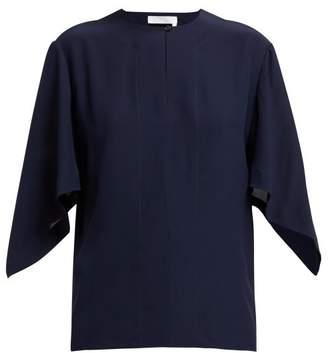 Chloé Drape Sleeved Silk Blouse - Womens - Navy