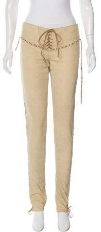 Ralph Lauren Leather Whipstitch-Trimmed Pants