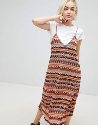 Pull&Bear knitted cami midi dress in multi