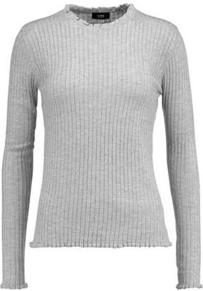 Line Ruffle-Trimmed Ribbed-Knit Sweater